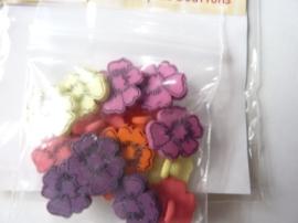 005507.D- zakje gekleurde bloemknoopjes buttons OPRUIMING