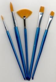 CE330109/8501- nylon penselenset 5 stuks assortiment