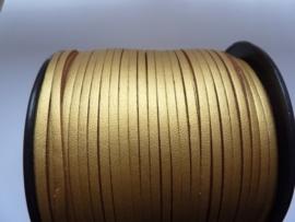 3 meter imitatie suede veter van 3mm breed goudkleur