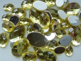 2282 310- 43 x kunststof strass stenen assortiment ovaal van 15 tot 27mm lang geel
