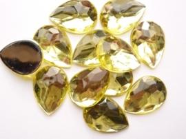 12 stuks kunststof strass stenen druppelvorm geel 25x18mm - SUPERLAGE PRIJS!