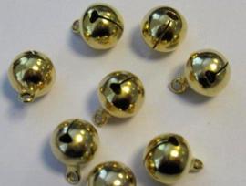 4214 - 8 stuks belletjes van 12 mm. goudkleur