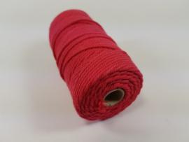 CE890030/3206- 43 mtr katoen macramé touw spoel 2mm 100grs - rood