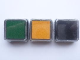 005218- 3 stuks mini stempelkussens van 2.5x2.5cm in geel, groen, zwart OPRUIMING