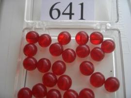 20 stuks 641 Ronde glaskraal 8 mm. licht rood