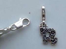 117467/1218- zwaar verzilverde metalen letter bedel R