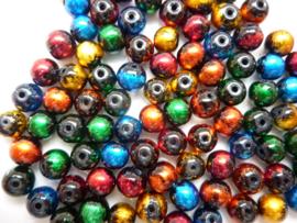 3754- ca. 50 stuks baking painted glaskralen van 8mm kleurenmix