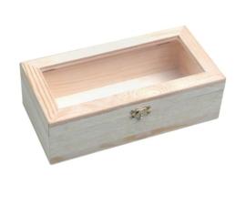KN8735 721- 3 stuks houten kistjes met kunststof deksel en sluiting 24x12x7.5cm