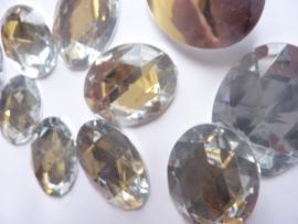 10 stuks XXL kunststof strassstenen ovaal van 30 x 40 mm. zilver