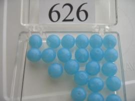 20 stuks 626 Ronde glaskraal 8 mm. licht blauw