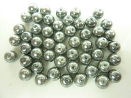 000103- 50 stuks glasparels van 8mm licht antraciet/grijs OPRUIMING
