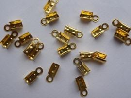 CN.313.20- 20 stuks veterklemmen/koordkapjes van 3x10mm goudkleur