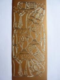 st981- stickervel met heren attributen 10x23cm brons