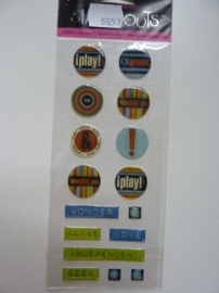 5957- Provocraft stand-outs epoxy stickers zelfklevende buttons 21x8cm OPRUIMING