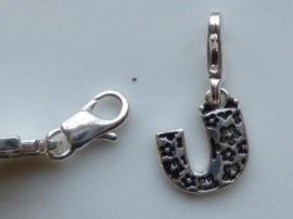 117467/1221- zwaar verzilverde metalen letter bedel U