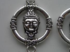 117465/0861- grote zwaar metalen boeddha hanger/tussenstuk zilver