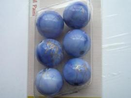 "12094/9436KA- 6 x hoogglans 18mm ""oilpaint"" blauw/goud"