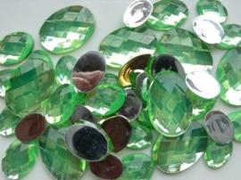 2282 0345- 43 x kunststof strass stenen assortiment ovaal van 15 tot 27mm lang l.groen