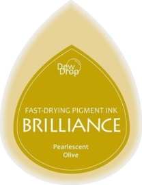 132019/1053- brilliance stempelkussen dew drops pearl olive 3.5x5cm