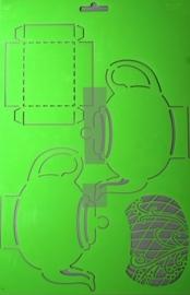 JOY6002/0709- Joy! crafts embossing achtergrondstencil template A4 formaat theepot