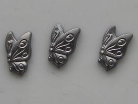 5147- 3 x glas vlinder 11x7mm metallic grijs