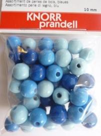 6013 007 - 50 stuks 10 mm. houten kralen blauw/licht blauw mix