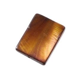 006080/0653- zeer mooie zware kwaliteit parelmoer kraal bruin rechthoek 20x15mm