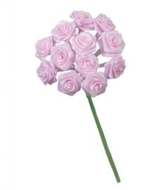 6547 222- 12 stuks roosjes van 10cm lang en 1.5cm breed licht roze