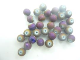 3661 - 30 stuks glaskralen van 6 mm. - donkerbrons met fijne glitter