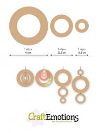 CE812301/0011- Craft Emotions MDF ringen - 3 stuks van 13.5-23.5cm
