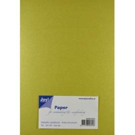 JOY8099/0205- 20 vellen cardstock papier linnen structuur 250grams A5 - metallic kaki