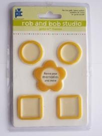 5608- Rob & Bob studio kleine gele lijstjes 2.5x2.5cm