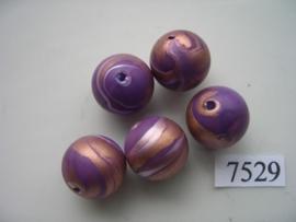 7529- 16mm paarse kunststofkraal marmer