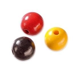 6026 200- 125 x houten kralenmix 6mm  geel/rood/zwart