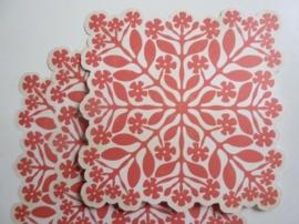 004021- 3 x scrapbook stansvellen 30.5x30.5cm rood/beige decor OPRUIMING