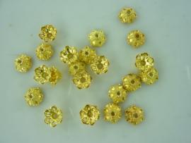 CH.018- 20 stuks zwaar metalen kralenkapjes 6x2mm goudkleur