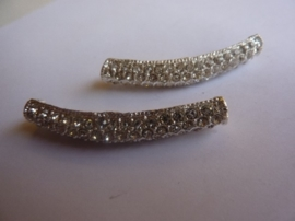 4003- metalen strass half-pijpje van 43x7mm zilver AA-kwaliteit - SUPERLAGE PRIJS!