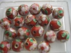 10 mm. CLOISSONNE kralen 10 stuks  rood 1368