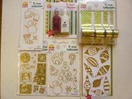 005841- setje met diverse Xmass collection accessoires 6 stuks goud OPRUIMING