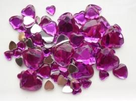2282 0229- 80 x kunststof strass stenen assortiment hartjes van 8 tot 18mm lang fuchsia