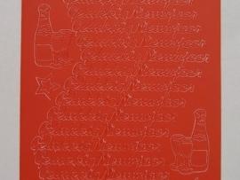 st 144- gelukkig nieuwjaar rood 10x20cm