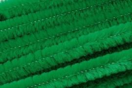 8476 438- 10 stuks chenille draad van 50cm lang en 8mm breed groen