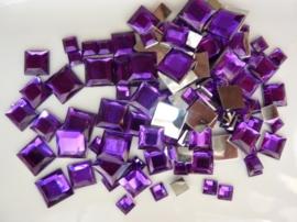2282 060- 110 x kunststof strass stenen assortiment vierkanten van 6/10/12mm violet