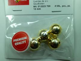 2223 708 - 4stuks wax parels van 12 mm. - goud - premium kwaliteit