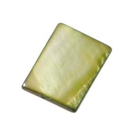 006080/0648- zeer mooie zware kwaliteit parelmoer kraal groen rechthoek 20x15mm
