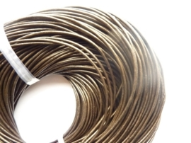 CH.031- 3 meter leren veter parelmoer antraciet/bruin 2mm dik AA kwaliteit - SUPERLAGE PRIJS!