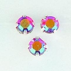 107005/0054- 28 stuks glazen rijg/naai strass steentjes 5mm rond kristal ruby AB