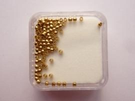 9202 -100 stuks mini knijpkralen van 1mm in een doosje goudkleur