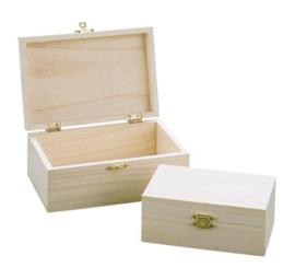 KN8735 703- houten kistjes set 9x14x5.5cm + 12x18x7cm