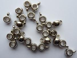 CH017.20- 20 stuks zwaar metalen aanhangkralen 5.8x4.5mm staalkleur - SUPERLAGE PRIJS!